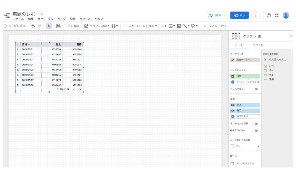 Googleデータポータルで統合レポートを作成