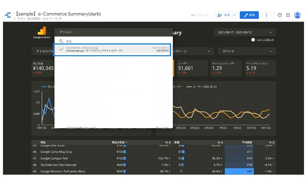 Googleデータポータルのデータ管理でサイトを選択