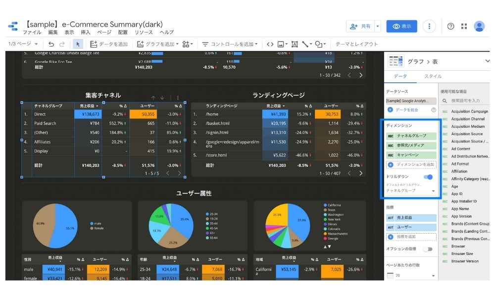 Goodleデータポータルのレポートにドリルダウンを設定
