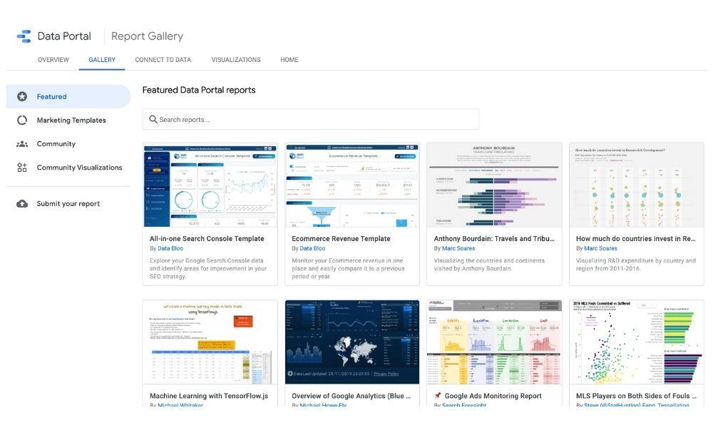 Googleデータポータルの公式レポートギャラリー
