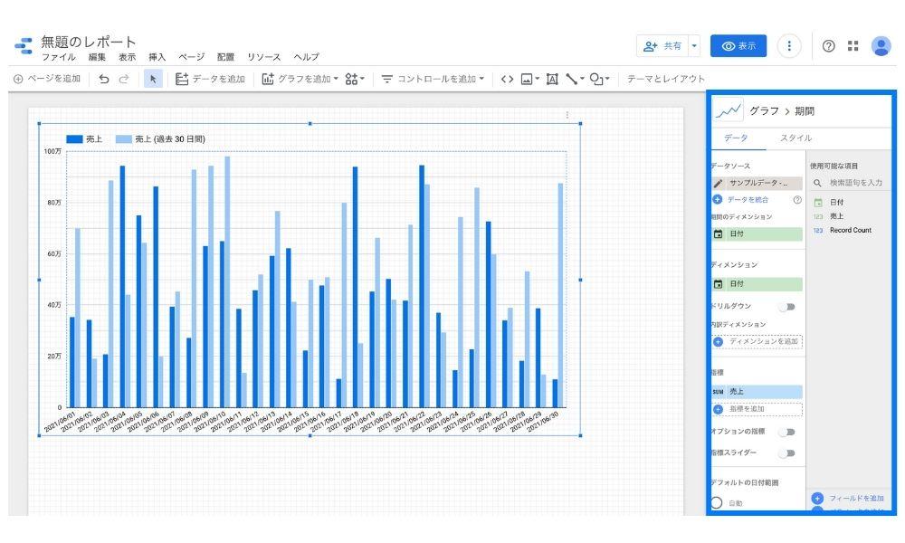 Googleデータポータルのデータ編集画面