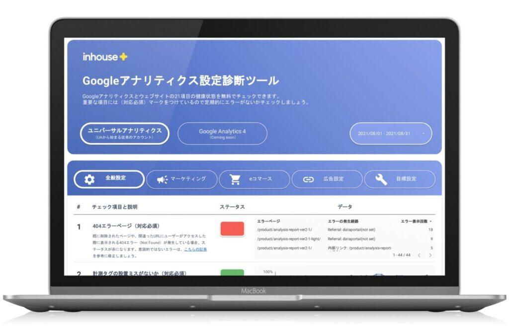 Googleアナリティクスの設定診断ツールのレポート画面